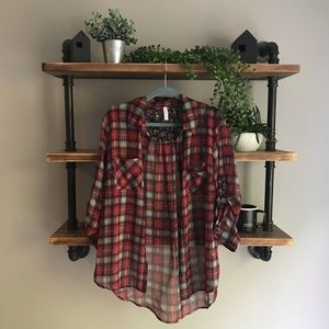 NWOT Xhilaration Sheer Plaid Shirt